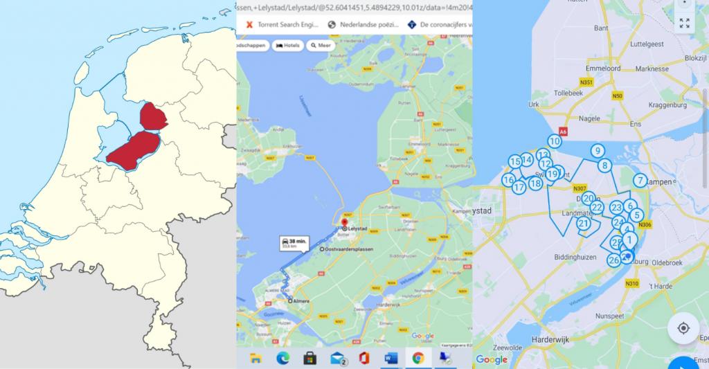 Tweede foto: De eerste dag gingen we vanaf Exposure in Lelystad (1) door de Oostvaardersplassen (2) naar Almere (3).  Derde foto: De tweede dag reden we de tulpenroute (4) waar we Riff (1) spotten.